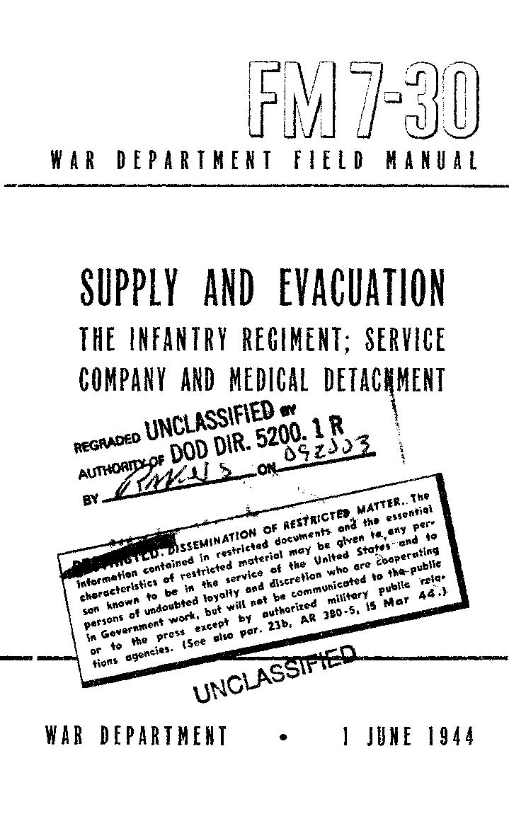 United States. War Department - FM 7-30 Supply and Evacuation: The Infantry Regiment; Service Company and Medical Detachment