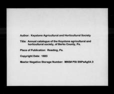 Annual catalogue of the Keystone agricultural and horticultural society, of Berks County, Pa by Keystone Agricultural and Horticultural Society