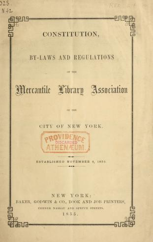 Cover of: Constitution, by-laws and regulations of the Mercantile library association of the City of New York by Mercantile Library Association of the City of New-York