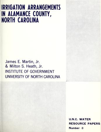 Irrigation arrangements in Alamance County, North Carolina by Martin, James E.