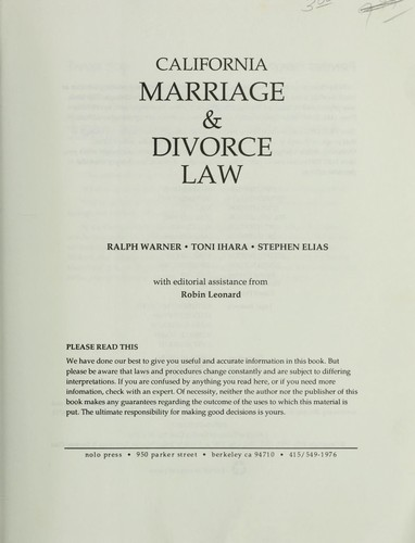 California marriage & divorce law by Ralph E. Warner