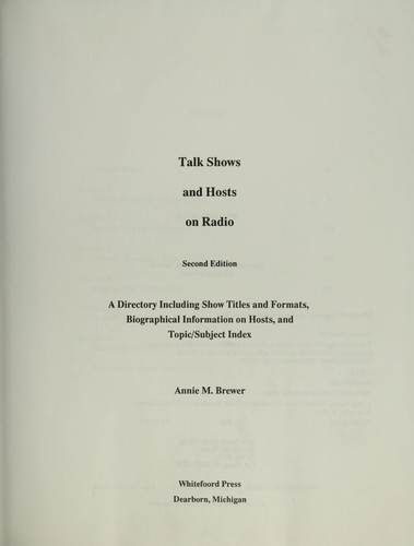 Talk shows and hosts on radio by Annie M. Brewer